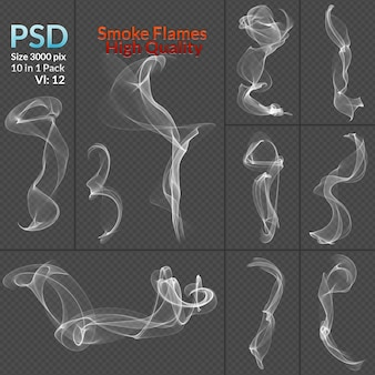Smoke collection isolated transparent background