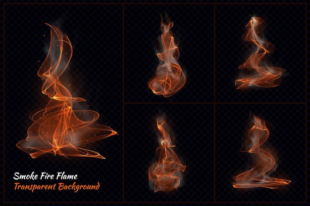 Smoke fire flame transparent in 3d rendering Premium Psd