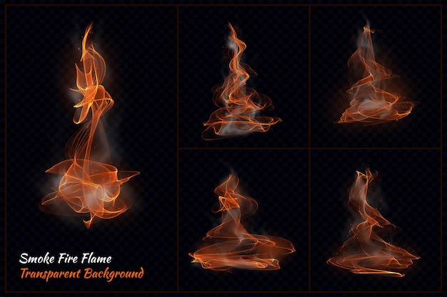 Smoke fire flame transparent in 3d rendering