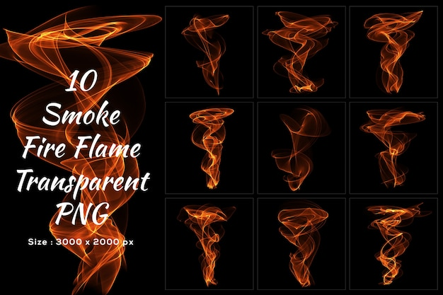 Smoke fire flame transparent collection