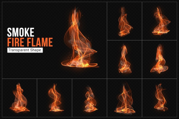Smoke fire flame transparent shape set