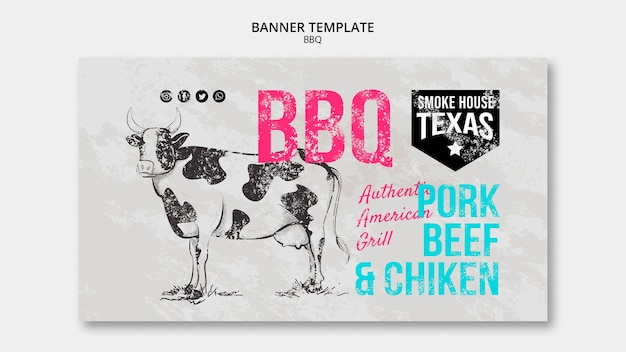 Smoke house texas bbq banner template