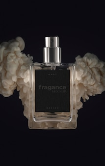 Smoke and perfume bottle mockup