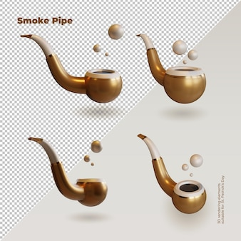 Smoke pipe 3d rendering collection as st. patrick's day symbol