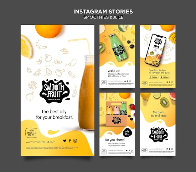 Smoothie bar instagram stories template