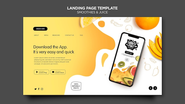 Smoothie bar landing page template
