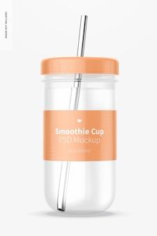 뚜껑 모형이있는 스무디 컵, 전면보기