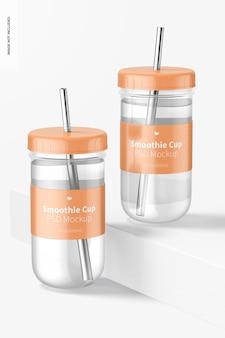 뚜껑 모형이있는 스무디 컵, 전면보기 무료 PSD 파일