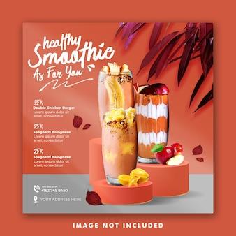Smoothie drink menu social media post template for promotion restaurant