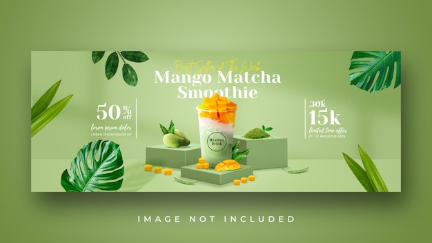 Smoothie healthy drink menu promotion facebook cover banner template