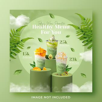 Smoothie healthy drink menu promotion social media instagram post banner template