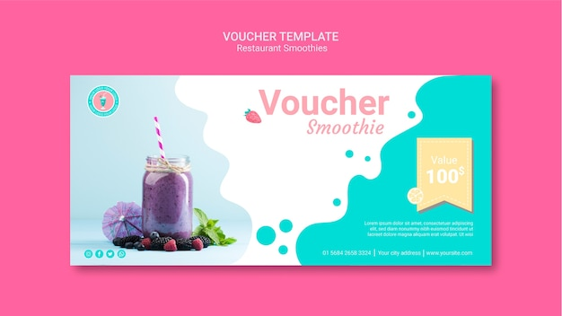 Smoothie restaurant voucher template