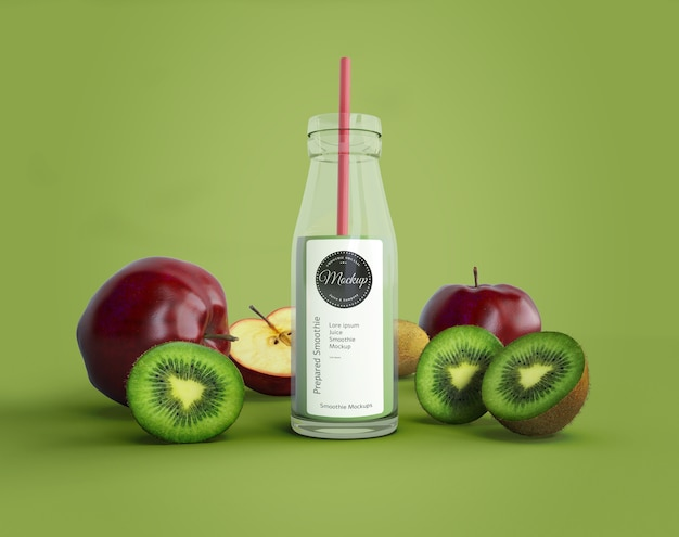 Smoothie with apples and kiwi mock-up
