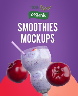 Smoothies mock-ups with fruits