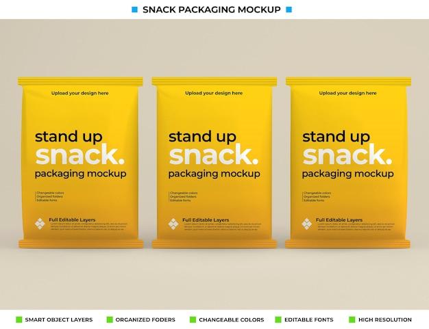 Макет упаковки коробки для закусок в концепции продукта