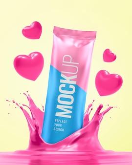 Snack foil mockup for valentine advertising