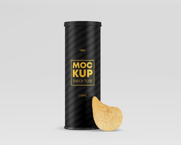 Snack paper tube with chips mockup