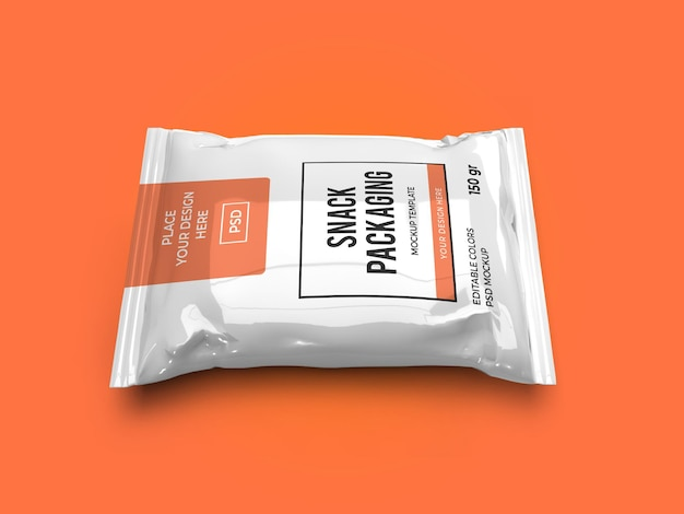 Snack pouch packaging mockup template isolated