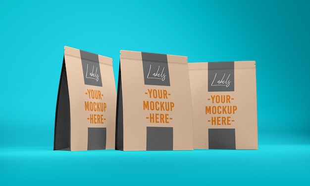 Snack pouch realistic mockup