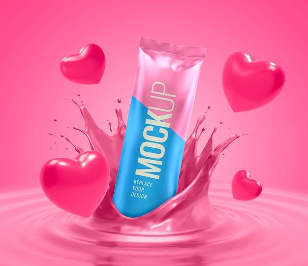 Snack valentine splash advertising mockup