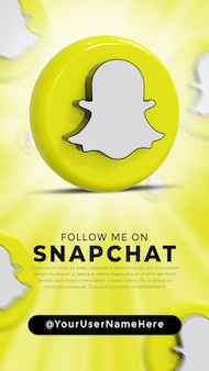 Snapchat glossy logo and social media icons story