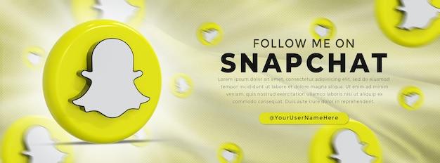 Snapchat glossy logo and social media icons web banner