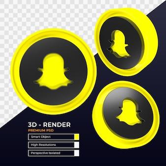 Snapchatアイコンパースペクティブ分離3dレンダリング