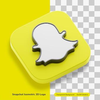 Snapchat 메시징 앱 계정 아이소 메트릭 배지에서 3d 렌더링 아이콘 개념