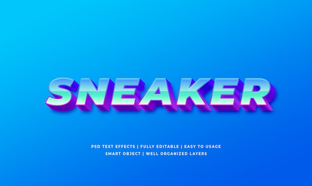 Sneaker 3d text style effect premium psd