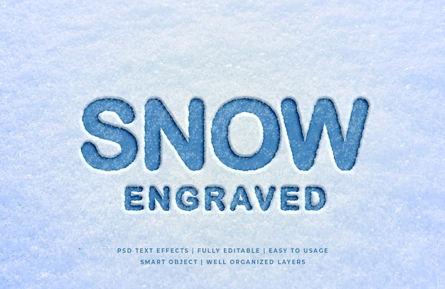 Snow engraved 3d text style effect