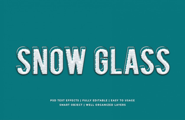 Snow glass 3d text style effect mockup