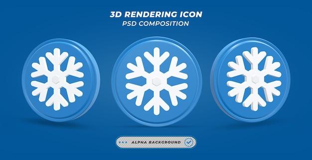 Значок снега в 3d-рендеринге