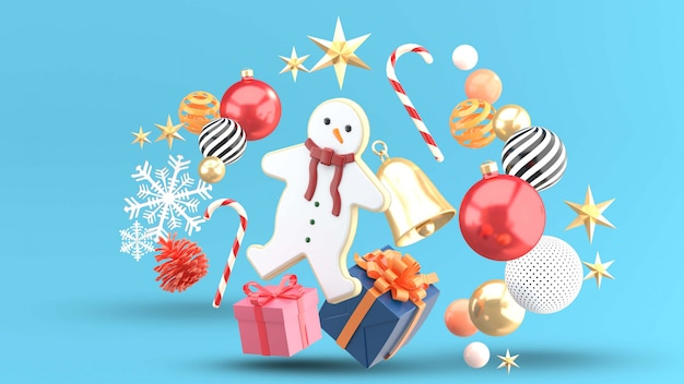 Snow man cookies are surrounded by gift boxes, candies, crystal balls, bells and snow on blue