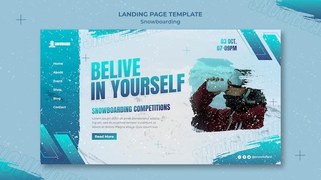 Modello di progettazione della pagina di destinazione dello snowboard