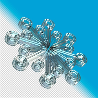ガラス製のスノーフレーク3dレンダリング