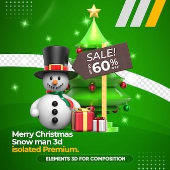 Snowman 3d premium for composition rendering