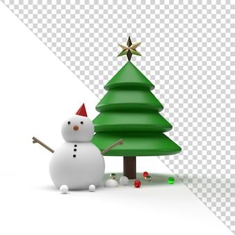 눈사람 및 3d 렌더링에 고립 된 크리스마스 트리