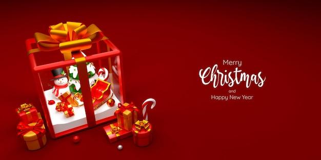 Снеговик и новогодняя елка в подарочной коробке, 3d иллюстрация