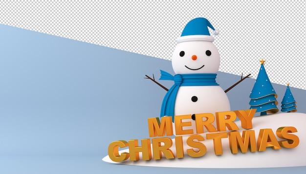 Снеговик, новогодняя елка и подарочная коробка в 3d-рендеринге