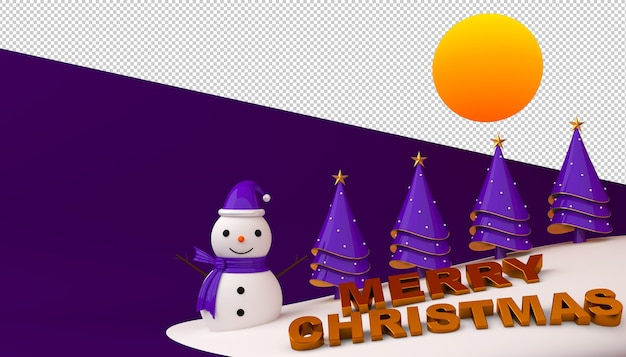 Snowman and christmas tree with merry christmas text in 3d rendering