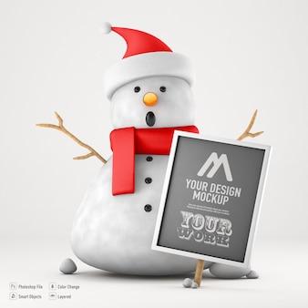 Snowman mockup isolated