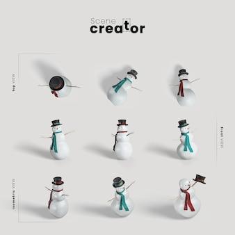 雪だるまの様々な角度のクリスマスシーンクリエーター