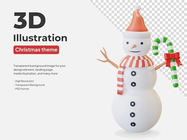 Снеговик в шляпе санта-клауса и красном полосатом шарфе держит рождественскую конфету 3d иллюстрации