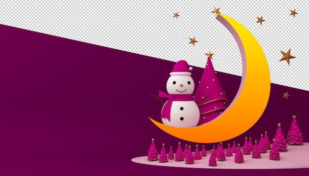 Snowman with christmas tree and crescent moon in 3d rendering