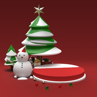 Snowman with tree and gifts realistic product preview scene Premium Psd