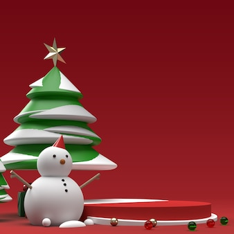 Snowman with tree and gifts realistic product stage preview scene Premium Psd