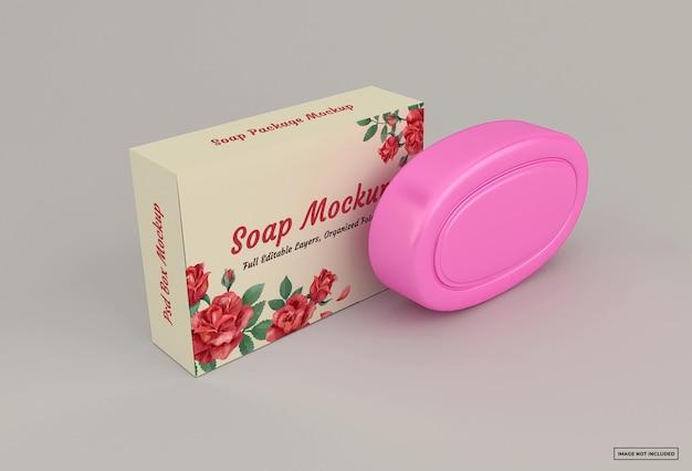柔らかい色の背景に分離された石鹸箱のモックアップ