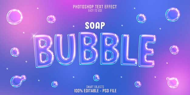 Soap bubble 3d text style effect template