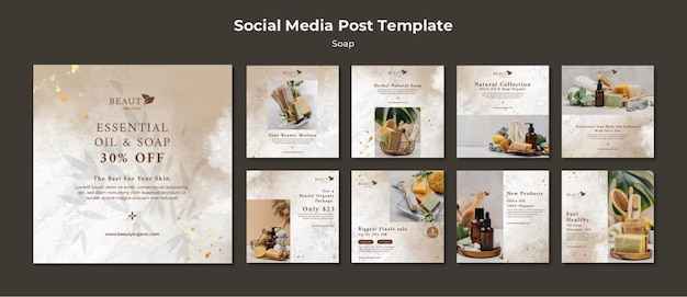 Soap social media posts template with photo