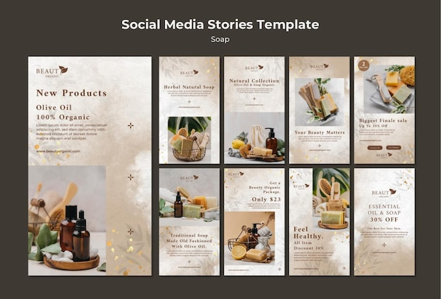 Soap social media stories template with photo